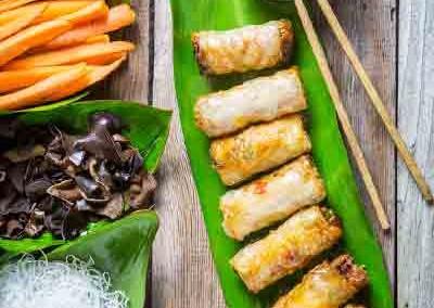 Loempia met mango en kokos
